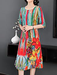 Недорогие -Жен. На выход Хлопок Туника Платье - Цветочный принт, С принтом Средней длины