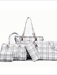 baratos -Mulheres Bolsas PU Conjuntos de saco 5 Pcs Purse Set Ziper Rosa / Cinzento / Branco / Preto