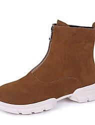 Недорогие -Жен. Fashion Boots Замша Зима На каждый день Ботинки На плоской подошве Ботинки Черный / Пурпурный / Коричневый
