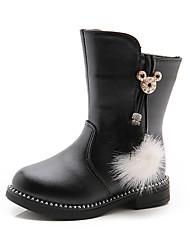 baratos -Para Meninas Sapatos Couro Inverno / Outono & inverno Botas da Moda / Coturnos Botas para Infantil / Adolescente Preto / Vermelho / Rosa claro