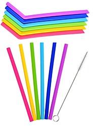 abordables -Paille réutilisable de silicone de 6pcs / lot buvant la paille pour des accessoires de barware de parti à la maison avec la brosse propre a placé des gadgets de barware
