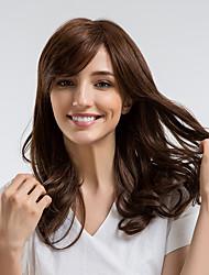 Недорогие -Человеческие волосы без парики Натуральные волосы Кудрявый Боковая часть Природные волосы Темно-коричневый Без шапочки-основы Парик Жен. На каждый день