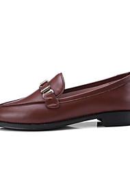 abordables -Femme Chaussures de confort Cuir Nappa Automne Mocassins et Chaussons+D6148 Talon Bas Noir / Marron / Vin