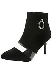 Недорогие -Жен. Армейские ботинки Полиуретан Осень На каждый день Ботинки На шпильке Сапоги до середины икры Черный / Хаки