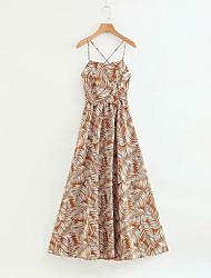 Недорогие -Жен. Уличный стиль Оболочка Платье - Геометрический принт Средней длины