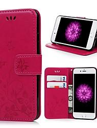 Недорогие -Кейс для Назначение Apple iPhone 7 Бумажник для карт / со стендом / Флип Чехол Бабочка / Цветы Твердый Кожа PU для iPhone 7