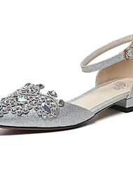 abordables -Femme Chaussures de confort Satin Eté Ballerines Talon Plat Argent / Rouge