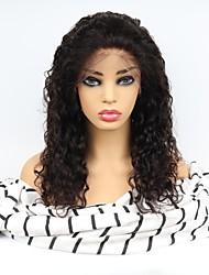 Недорогие -Необработанные натуральные волосы Лента спереди Парик Средняя часть стиль Бразильские волосы Кудрявый Парик 130% Плотность волос с детскими волосами Легко туалетный Природные волосы 100