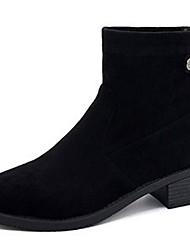 Недорогие -Жен. Армейские ботинки Полиуретан Осень Ботинки На толстом каблуке Круглый носок Черный