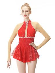 cheap -Figure Skating Dress Women's / Girls' Ice Skating Dress Red Spandex High Elasticity Professional Skating Wear Fashion Long Sleeve Ice Skating / Winter Sports / Figure Skating
