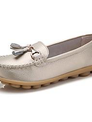 abordables -Femme Chaussures de confort Cuir Automne Mocassins et Chaussons+D6148 Talon Plat Café / Marron / Rouge