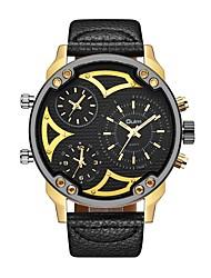 Недорогие -Oulm Муж. Спортивные часы Армейские часы Японский Японский кварц Кожа Черный 30 m С тремя часовыми поясами Крупный циферблат Аналоговый На каждый день Мода - Черный Золотой с черным Золото / Белый