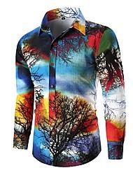 baratos -Homens Camisa Social Básico Estampa Colorida