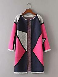 billige -Kvinders langermet cardigan - Farveblok v-hals