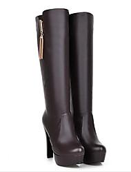 cheap -Women's Fashion Boots PU(Polyurethane) Fall Boots Chunky Heel Knee High Boots Black / Beige / Dark Brown