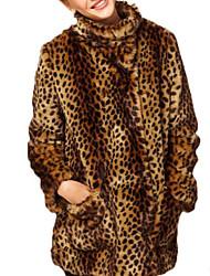 billiga -Dam Arbete / Fest / cocktail Streetchic / Sofistikerat Vinter Plusstorlekar Normal Fur Coat, Leopard Hög krage Långärmad Fuskpäls Ljusbrun XL / XXL / XXXL / Sexig
