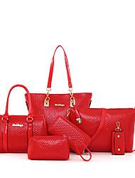 baratos -Mulheres Bolsas PU Conjuntos de saco 6 Pcs Purse Set Ziper Vermelho / Bege / Roxo