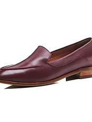 abordables -Femme Chaussures de confort Cuir Nappa Eté Mocassins et Chaussons+D6148 Talon Bas Noir / Marron / Vin