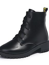 Недорогие -Жен. Fashion Boots Полиуретан Наступила зима Ботинки На низком каблуке Круглый носок Ботинки Черный