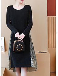 Недорогие -Жен. Классический А-силуэт Платье - Однотонный / Контрастных цветов, Пэчворк Средней длины