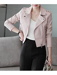 Недорогие -Жен. Повседневные Обычная Кожаные куртки, Однотонный Рубашечный воротник Длинный рукав Полиуретановая Черный / Розовый M / L / XL