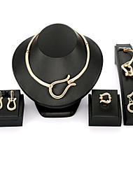 cheap -Women's Classic / Retro Jewelry Set - Creative Geometric, Unique Design, Elegant Include Hoop Earrings / Choker Necklace / Link Bracelet Gold For Party / Evening Party / Open Ring