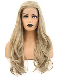 abordables -Perruque Lace Front Synthétique Ondulé Blond Partie libre Or clair Cheveux Synthétiques 24 pouce Femme Ajustable / Résistant à la chaleur Blond Perruque Long Lace Frontale
