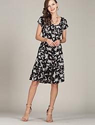 Недорогие -Жен. Винтаж / Шинуазери (китайский стиль) Оболочка / Рубашка Платье - Цветочный принт До колена