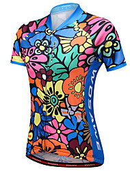 Недорогие -WOSAWE Жен. С короткими рукавами Велокофты - Синий Реактивная печать Цветочные / ботанический Велоспорт Джерси, Со светоотражающими полосками Сетка 100% полиэстер
