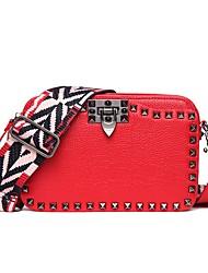 baratos -Sacos de mulheres nappa couro bolsa de ombro rebite vermelho / preto