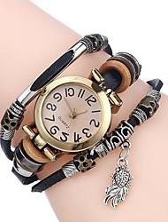 baratos -Mulheres senhoras Relógio Esportivo Bracele Relógio Quartzo Relógio Casual Adorável Couro Banda Analógico Casual Fashion Preta / Branco / Vermelho - Marron Vermelho Azul