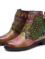 Недорогие -Жен. Ботильоны Наппа Leather Весна & осень Винтаж Ботинки На низком каблуке Ботинки Заклепки Розовый