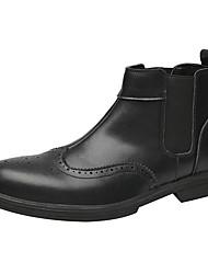billige -Herre Militærstøvler Læder Efterår vinter Vintage / Britisk Støvler Åndbart Ankelstøvler Sort / Brun / Bourgogne