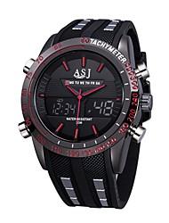 Недорогие -ASJ Муж. Спортивные часы Японский Кварцевый 30 m Защита от влаги Календарь Секундомер силиконовый Группа Аналого-цифровые На каждый день Мода Черный - Красный Синий / Фосфоресцирующий