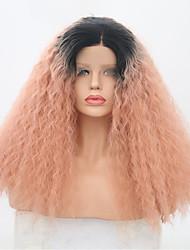 Недорогие -Синтетические кружевные передние парики Жен. Kinky Curly / Сенегал Розовый Средняя часть Искусственные волосы 22 дюймовый Регулируется / Жаропрочная / Для вечеринок Розовый Парик Длинные Лента спереди