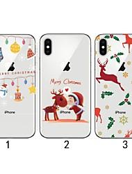 Недорогие -Кейс для Назначение Apple iPhone XS / iPhone XR / iPhone XS Max Ультратонкий / Прозрачный / С узором Кейс на заднюю панель Рождество Мягкий ТПУ