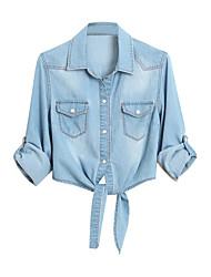 billige -kvinders bomuldskjorte - solidfarvet shirtkrave