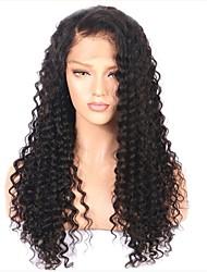 Недорогие -человеческие волосы Remy Лента спереди Парик Бразильские волосы Kinky Curly Черный Парик Стрижка каскад 150% Плотность волос с детскими волосами Природные волосы Для темнокожих женщин Необработанные