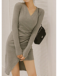billige -Dame Basale Bodycon Kjole - Ensfarvet Asymmetrisk