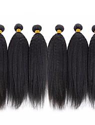 Недорогие -6 Связок Бразильские волосы Естественные прямые 8A Натуральные волосы Человека ткет Волосы Пучок волос One Pack Solution 8-28 дюймовый Нейтральный Естественный цвет Ткет человеческих волос