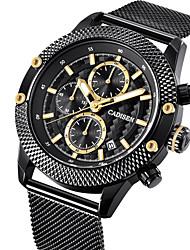 Недорогие -CADISEN Муж. Наручные часы Кварцевый Нержавеющая сталь Черный 30 m Защита от влаги Календарь Хронометр Аналоговый Роскошь На каждый день - Черный Два года Срок службы батареи / Фосфоресцирующий