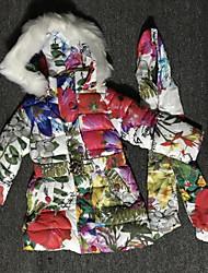 tanie -Brzdąc Dla dziewczynek Kwiaty Długi rękaw Odzież puchowa / pikowana