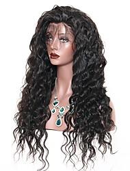 Недорогие -Натуральные волосы Лента спереди Парик Глубокое разделение стиль Бразильские волосы Свободные волны Нейтральный Парик 130% Плотность волос с детскими волосами Подарок Горячая распродажа Удобный Жен.