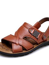 Недорогие -Муж. Комфортная обувь Кожа Лето На каждый день Сандалии Дышащий Черный / Коричневый