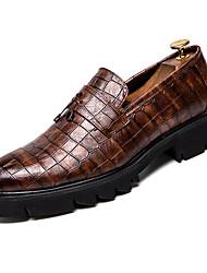abordables -Homme Chaussures de confort Polyuréthane Automne British Mocassins et Chaussons+D6148 Augmenter la hauteur Noir / Marron