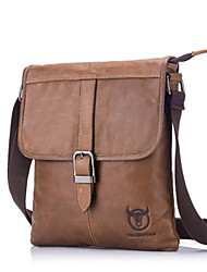 Недорогие -мужские сумки наппа кожаный мешок плеча молния черный / коричневый