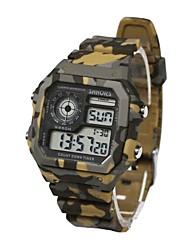 Недорогие -Муж. Спортивные часы электронные часы Японский Цифровой Стеганная ПУ кожа Зеленый / Серый / Желтый 30 m Защита от влаги Календарь Секундомер Цифровой Кольцеобразный Мода -  / Два года / Хронометр