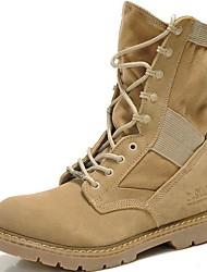 Недорогие -Жен. Армейские ботинки Наппа Leather Зима Классика / Винтаж Ботинки На плоской подошве Сапоги до середины икры Черный / Бежевый