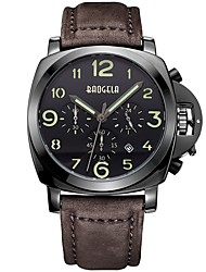 Недорогие -BAOGELA Муж. Спортивные часы Японский Японский кварц 30 m Защита от влаги Календарь Секундомер Натуральная кожа Группа Аналого-цифровые На каждый день Мода Коричневый / Шоколадный -