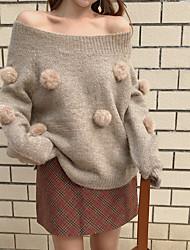 Недорогие -Жен. Повседневные Однотонный Длинный рукав Обычный Пуловер Бежевый Один размер
